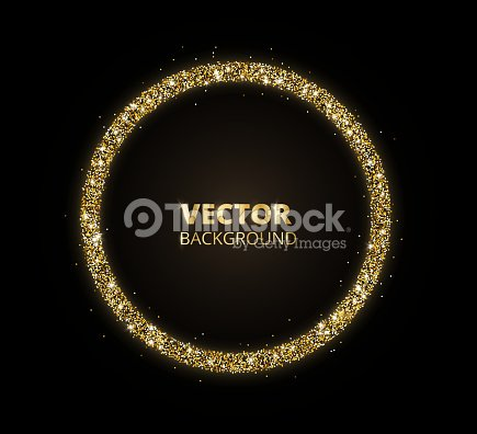 Golden Sparkle Background Glitter Circle Frame Black And Gold Vector ...
