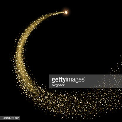 Golden sparkling star with stardust trail. Vector illustration. : stock vector