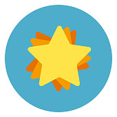Golden Star Icon On Blue Round Background Flat Vector Illustration