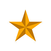 Golden 3D star isolated on white background. Vector illustration