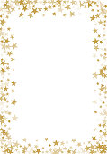 Golden stars confetti glitter vector background for greeting card