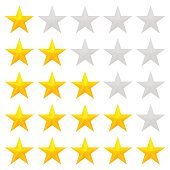 Five star rating. Different ranks from one to five stars. Golden embossed and gray transparent stars. Vector, isolated, eps 10.