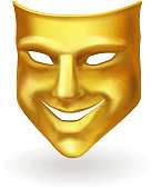 Golden theater mask of comedy realistic 3d illustration.