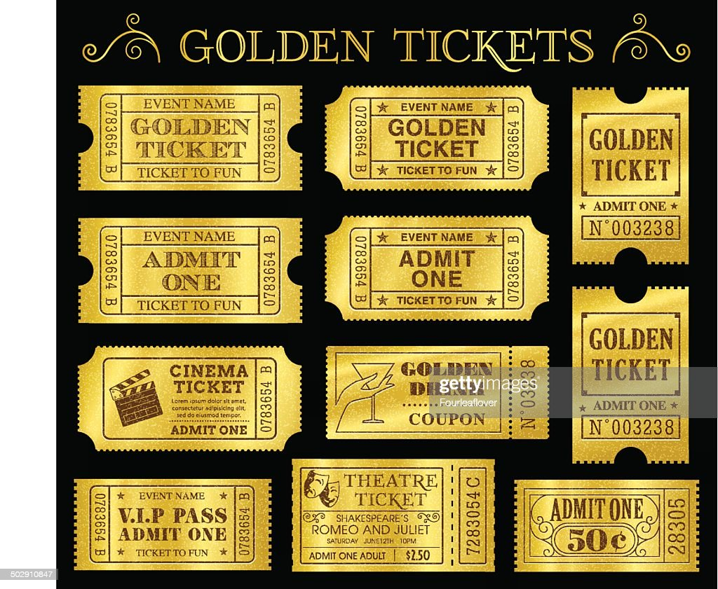 Golden Vector Ticket Templates : Vector Art  Admit One Ticket Template Free