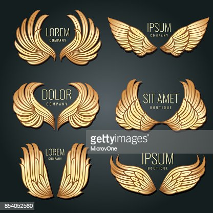 Golden wing logo vector set. Angels and bird elite gold labels for corporate identity design : stock vector