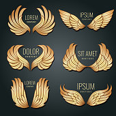Golden wing logo vector set. Angels and bird elite gold labels for corporate identity design. Angel and eagle flight wings badge illustration