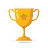 Golden winner cup. Trophy cup. Award symbol. Vector flat illustration.