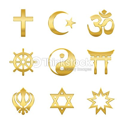 Golden World Religion Symbols Signs Of Major Religious Groups And