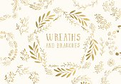 Golden wreaths. Vector illustration.