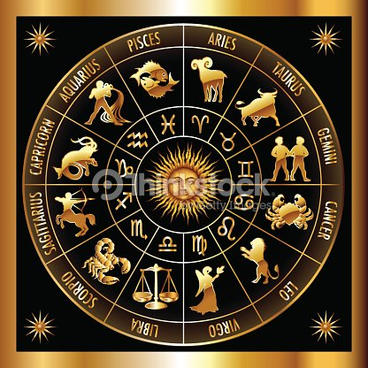 4560aef74 A Golden Zodiac Circle On A Black Background stock vector - Thinkstock
