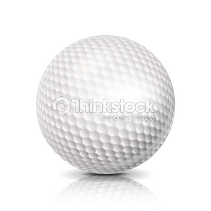 Golf Ball. 3D Realistic Vector Illustration. White Sport Golf Ball Isolated On White Background