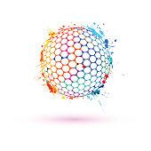 Golf ball. Vector sign of watercolor splash paint