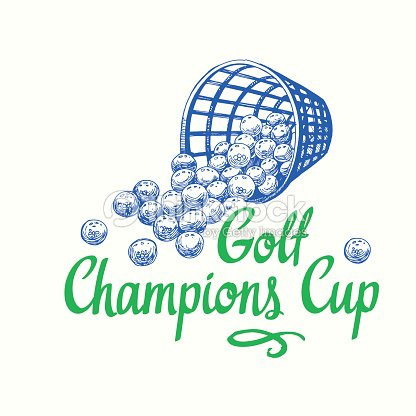 Golf basket with balls. Vector set of hand-drawn sports equipment. Illustration in sketch style on white background. Brush calligraphy elements for your design. Handwritten ink lettering
