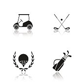 Golf championship drop shadow vector icons set. Ball in laurel wreath, crossed clubs, cart and bag