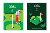 Hobby sport golf poster template with hole and green for circle tournament. Vector design in modern style. Isometric flat illustration.
