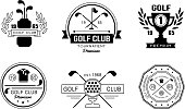 Golf club premium logo design set, golfing club retro badges, sport tournament or competition vintage labels vector Illustration isolated on a white background.