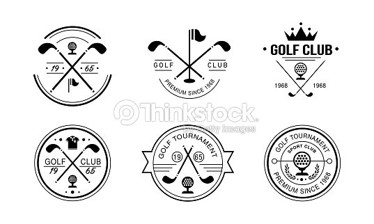 Golf club premium since 1968 logo, golfing club retro badges, sport tournament or competition vintage labels vector Illustration on a white background : stock vector