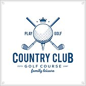 Vector golf club icon for golf tournaments, organizations and golf country clubs
