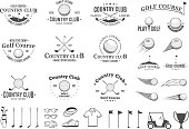 Set of golf country club label templates. Golf labels with sample text. Golf icons for golf tournaments, organizations and golf country clubs. Vector label design.