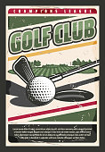 Golf sport game retro poster. Vector ball at the tee hole at green grass course and golf club in the palyer hands