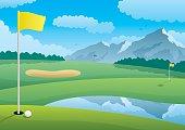 Golf course landscape.