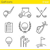 Golf equipment linear vector icons. Thin line. Ball on tee, golf cart, clubs, golfer's checklist, championship symbol, bag, course, flagstick in hole