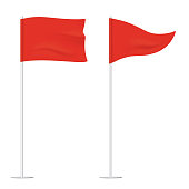 Red golf flags isolated on background. Square and triangular vector waving flags, waving on a stick.