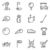Golf icons set. Linear design. Line with editable stroke