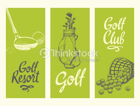 Golf layout banners with ball, backet, bag, clubs. Vector set of hand-drawn sports equipment. Illustration in sketch style on white background. Brush calligraphy elements for your design