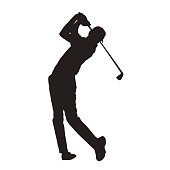 Golf player isolated vector silhouette
