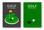Golf tournament poster design template. Vector sport flyer