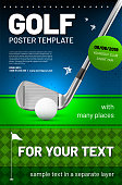 Golf poster template with sample text in separate layer- vector illustration