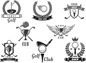Golf sport club symbol set. Golf club with ball on tee, champion trophy cup, hole and flag with heraldic shield and laurel wreath, ribbon banner, crown and star. Sporting competition theme design