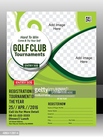 Golf Tournament Flyer Template Design Illustration Vector Art