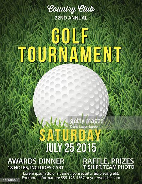Torneo di Golf invito Flyer con erba e palla