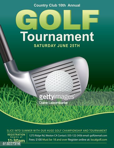 golf tournament budget template - golf tournament template with club and ball in the grass