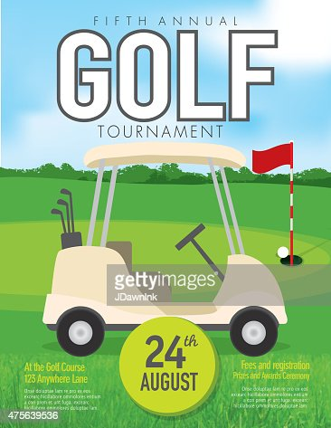 golf tournament with golf cart invitation design template on green vector art getty images. Black Bedroom Furniture Sets. Home Design Ideas