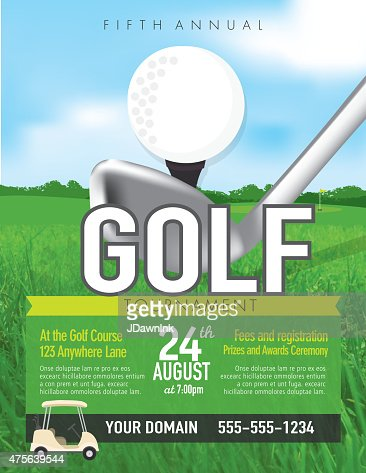 golf tournament with golf tee club invitation template on