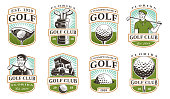 Golf vector set with vintage icons, badges, emblems on white background