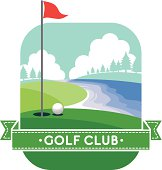 vector of golf yard with simple ribbon