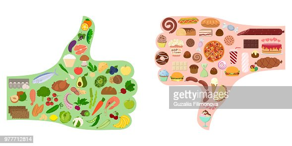 Good and bad food. : Vector Art