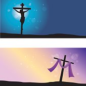 Vector illustration of Jesus Christ's crucifixion and Resurrection.
