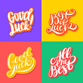 Good luck. All the best. Best of luck. Vector lettering.