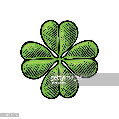 Good luck four leaf clover. Vintage vector engraving illustration : Vector Art