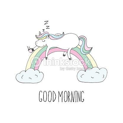 Guten Morgen Karte Niedlichen Einhorn Unicorn Schlafend Auf Dem ...