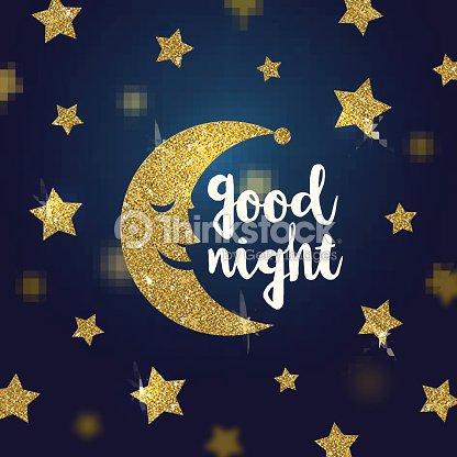 Buona Notte Auguri Con Glitter Oro Fumetto Luna E Delle Stelle Arte