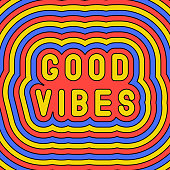 """""""Good vibes"""" slogan poster. Groovy, retro style design template of the 60s-70s. Vector illustration."""