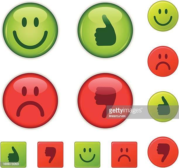 Bon ou mauvais Bon/erreur, heureux et triste, le pouce levé/Pouce vers le bas