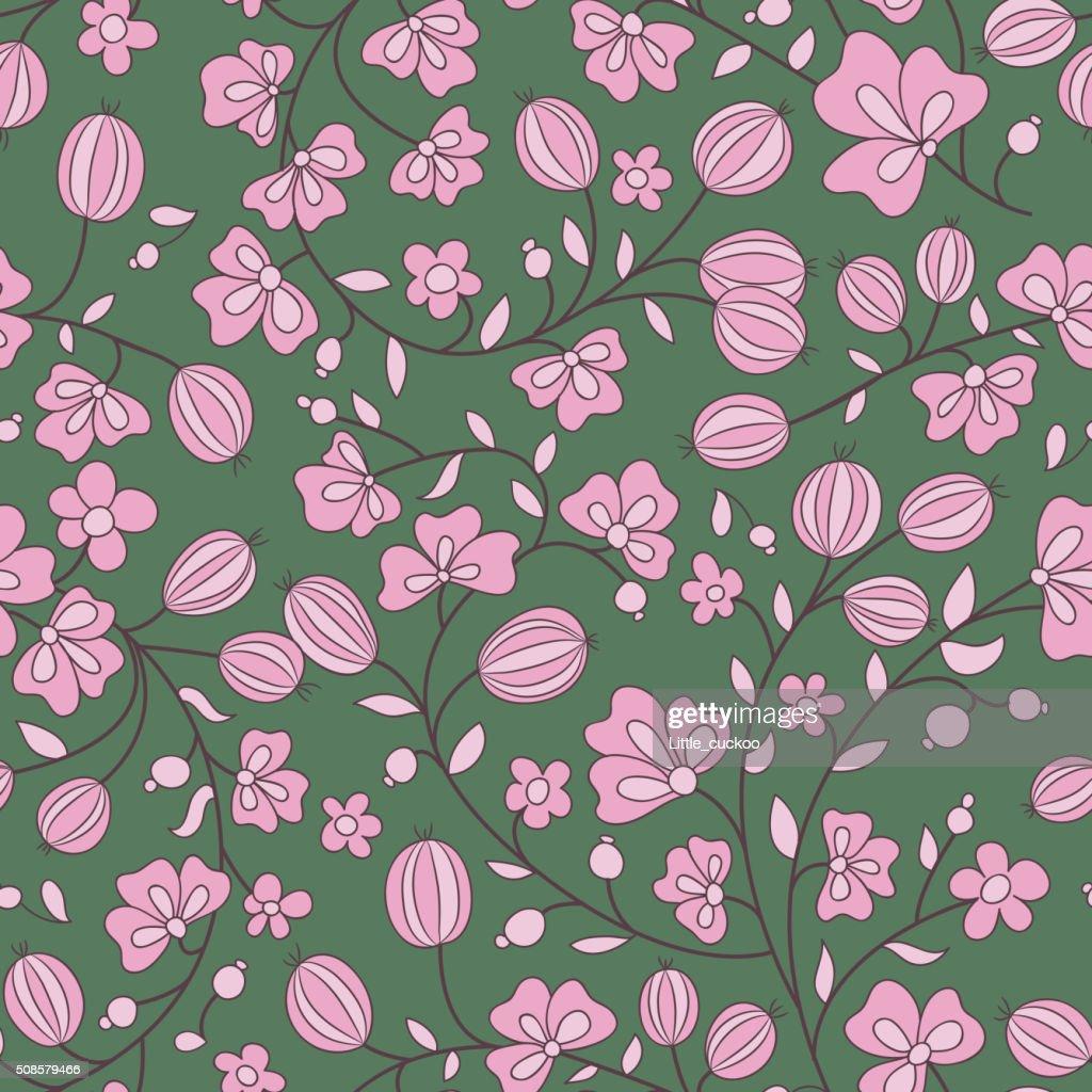 Groseilles à maquereau texture. illustration vectorielle motif sans couture : Clipart vectoriel