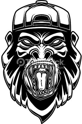 Gorila en la gorra de béisbol sobre fondo blanco. Elemento de diseño de  etiqueta 0c7f9be8571c2